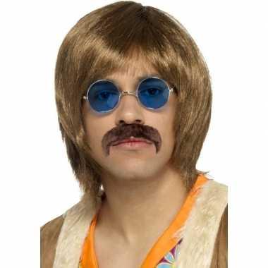 Abba heren verkleed pruik, snor bril setje heren carnaval