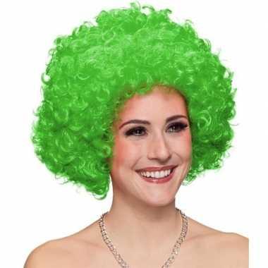 Afro pruik groen volwassenen carnaval
