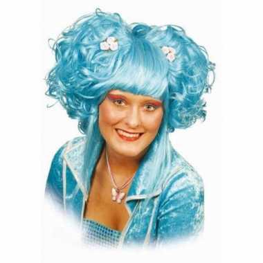 Anime pruik turquoise dames carnaval