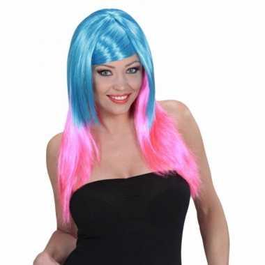 Blauw roze pruik dames carnaval