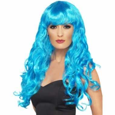 Blauwe feestpruik dames carnaval
