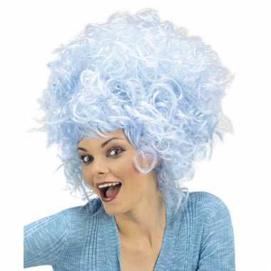 Blauwe getiste krullen pruik dames carnaval