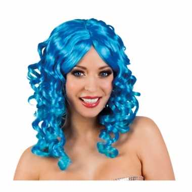 Blauwe glamour damespruik golvend haar carnaval