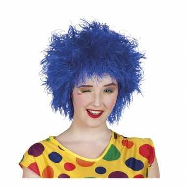 Blauwe kroeshaar pruik carnaval