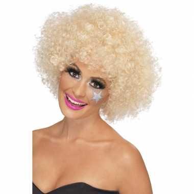 Blonde afro pruik synthetisch dames carnaval