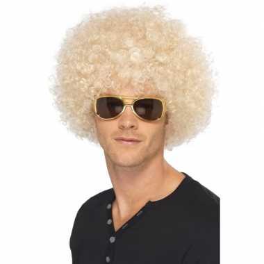 Blonde afro pruik synthetisch heren carnaval