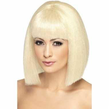 Blonde dames pruik stijl haar carnaval