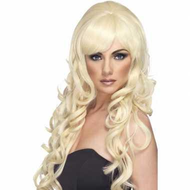 Blonde damespruik lang krullen carnaval