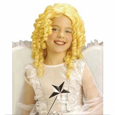 Blonde engelen kinder pruik carnaval