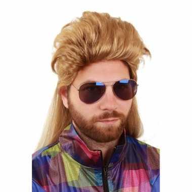 Blonde herenpruik kuif matje carnaval