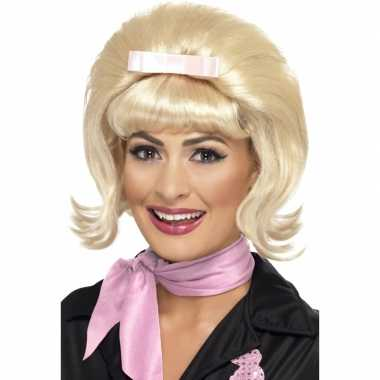 Blonde jaren pruik roze strik carnaval