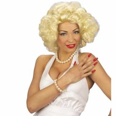 Blonde korte krullende pruiken carnaval