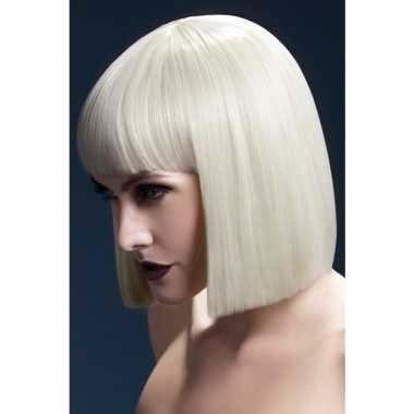 Blonde korte pruik pony dames carnaval