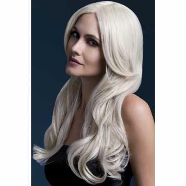 Blonde lange pruik dames carnaval