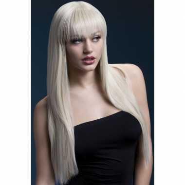 Blonde lange pruik laagjes dames carnaval