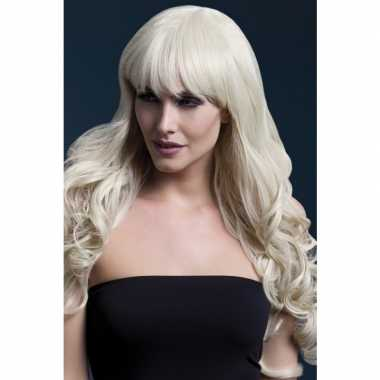 Blonde lange pruik pony dames carnaval