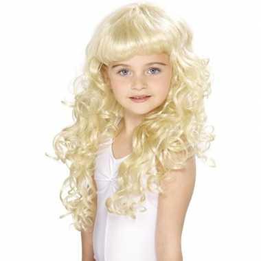 Blonde prinsessen pruik krullen carnaval