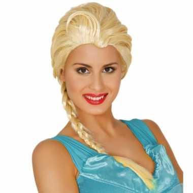 Blonde prinsessen pruik lange paardenstaart carnaval