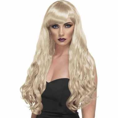 Blonde pruik desire krullen carnaval