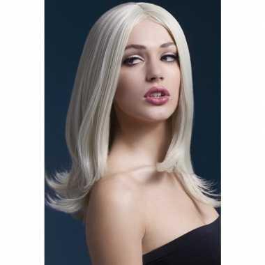 Blonde pruik schouderlengte dames carnaval