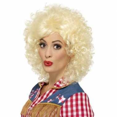 Blonde rodeo western pruik dames carnaval