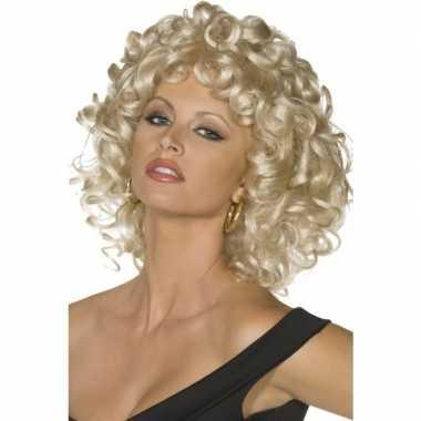 Blonde sandy grease pruik dames carnaval
