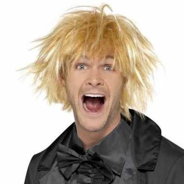 Blonde warrige pruik heren carnaval