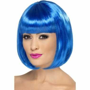 Bob pruik blauw rechte pony carnaval
