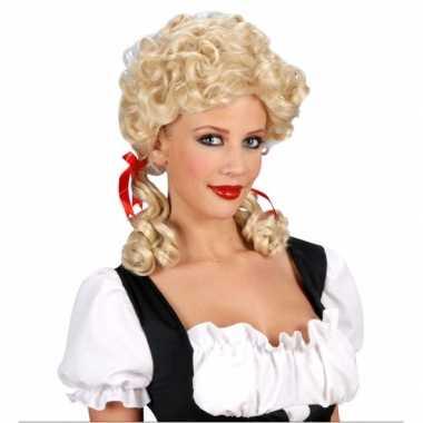 Boerinnenpruik blond volwassenen carnaval