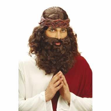 Bruine christus pruik baard carnaval