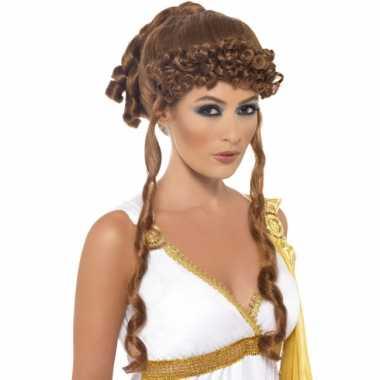 Bruine Helena pruiken dames carnaval
