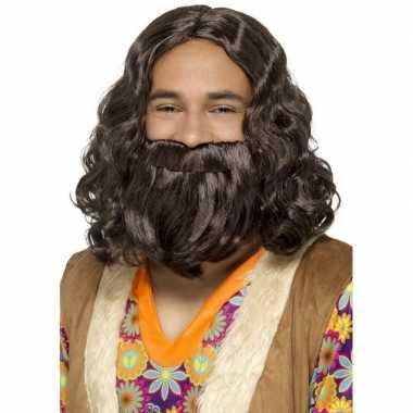 Bruine jezus pruik baard carnaval