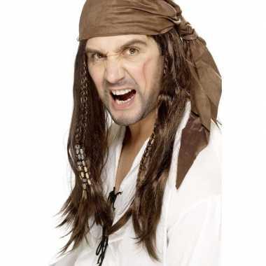Bruine lange piratenpruik heren carnaval