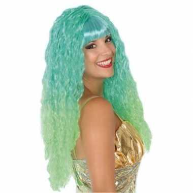 Carnaval dames pruik zeemeermin groen/aqua