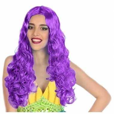 Carnaval dames pruik zeemeermin paars