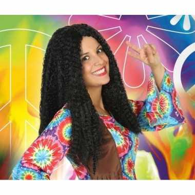 Carnaval hippie/flower power pruik dames