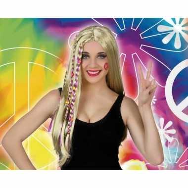 Carnaval hippie/flower power pruik dames
