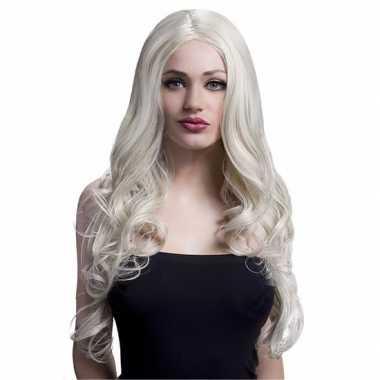Carnaval krullen pruik blond