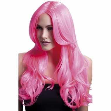 Carnaval krullen pruik neon roze lange pony