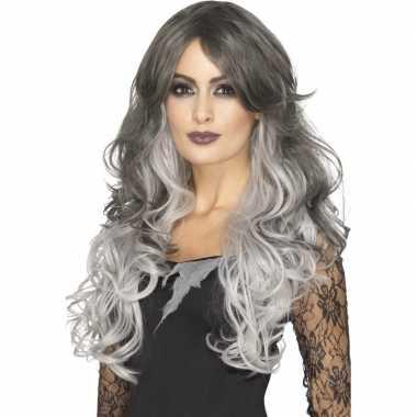 Carnaval tweekleurige grijze damespruik lang haar