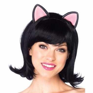 Carnaval zwarte kat/poes damespruik oortjes