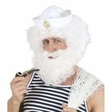 Carnavalskleding witte krullende herenpruik baard