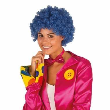 Clownspruik blauwe krulletjes verkleed accessoire carnaval