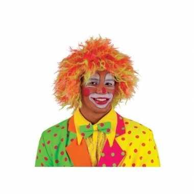 Clownspruik felle kleuren volwassenen carnaval