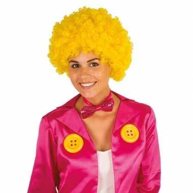 Clownspruik gele krulletjes verkleed accessoire carnaval