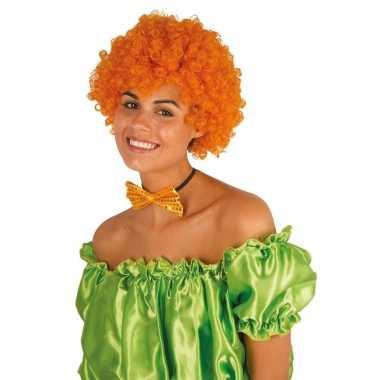Clownspruik oranje krulletjes verkleed accessoire carnaval