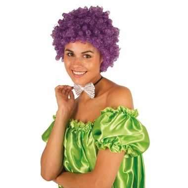 Clownspruik paarse krulletjes verkleed accessoire carnaval