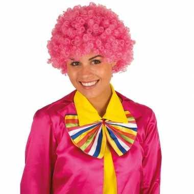 Clownspruik roze krulletjes verkleed accessoire carnaval