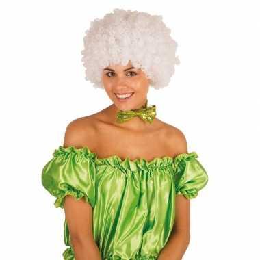 Clownspruik witte krulletjes verkleed accessoire carnaval