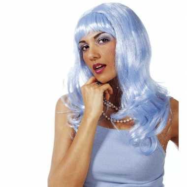 Dames glitterpruik lichtblauw lang pony carnaval